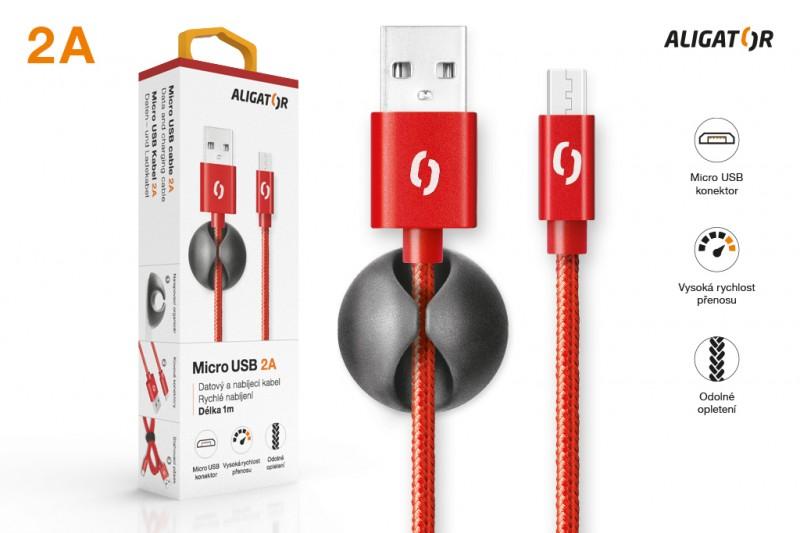 Datový kabel ALIGATOR PREMIUM 2A, Micro USB, červená