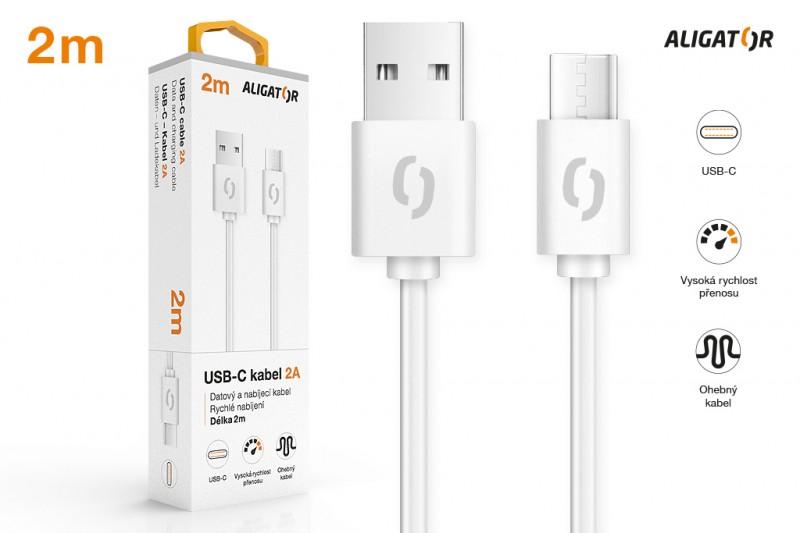 Datový kabel ALIGATOR 2A, USB-C, 2m, bílá