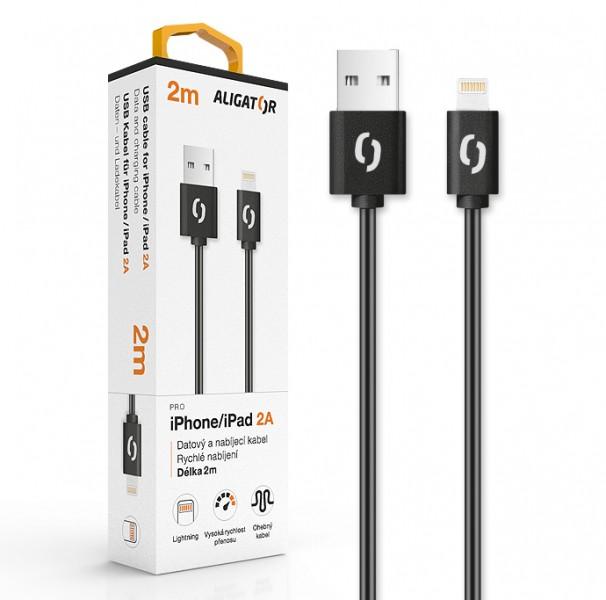 Datový kabel ALIGATOR 2A, iPhone lightning 2m, černá