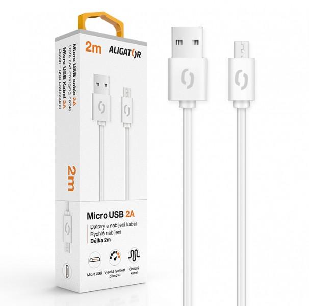 Datový kabel ALIGATOR 2A micro USB 2m, bílá