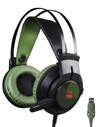 Herní sluchátka A4tech Bloody J437, 7.1., USB, zelená