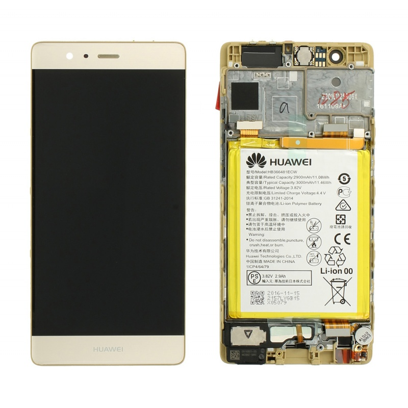 LCD + dotyk + rámeček + baterie pro Huawei P9, gold (Service Pack)