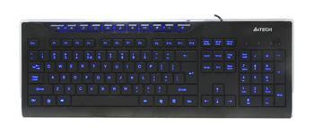 Multimediální klávesnice A4tech KD-800L modře podsvícená, CZ/US, USB, černá