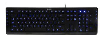 Multimediální klávesnice A4tech KD-600L modře podsvícená, CZ/US, USB, černá