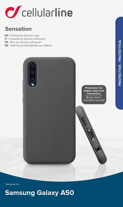 Silikonové pouzdro CellularLine SENSATION pro Samsung Galaxy A50/A30s, černá