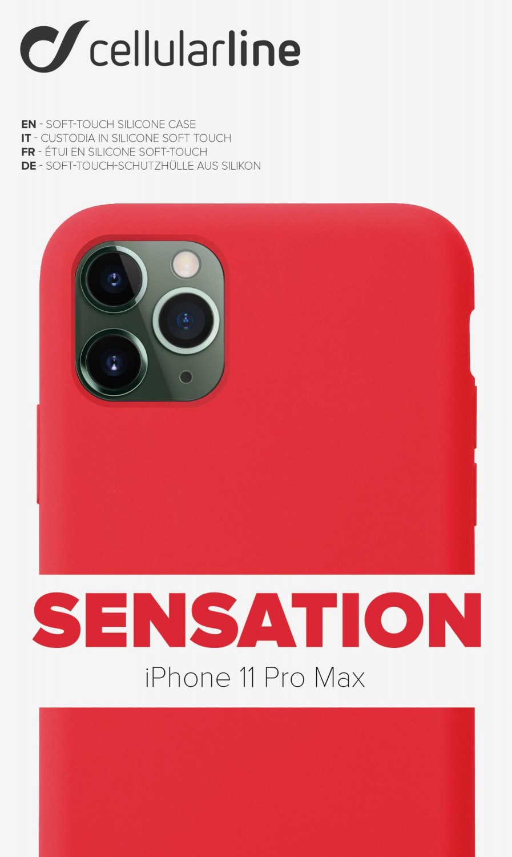Silikonové pouzdro CellularLine SENSATION pro Apple iPhone 11 Pro Max, červená
