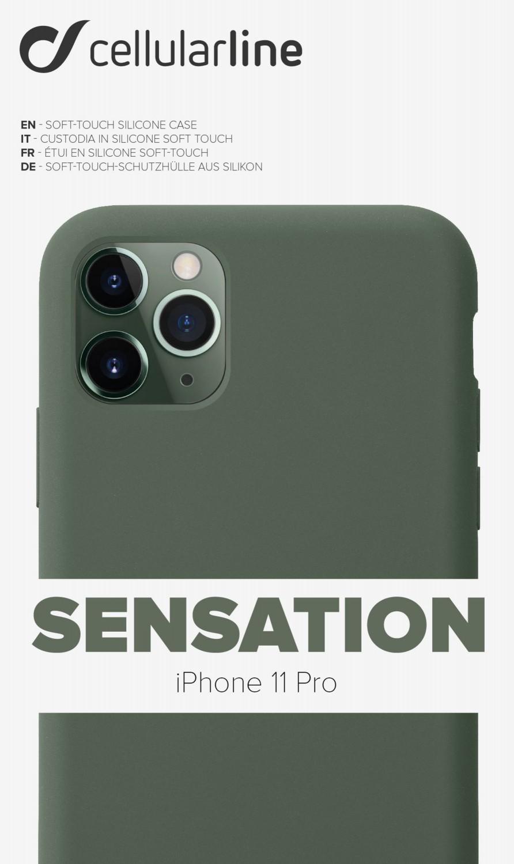 Silikonové pouzdro CellularLine SENSATION pro Apple iPhone 11 Pro, zelená