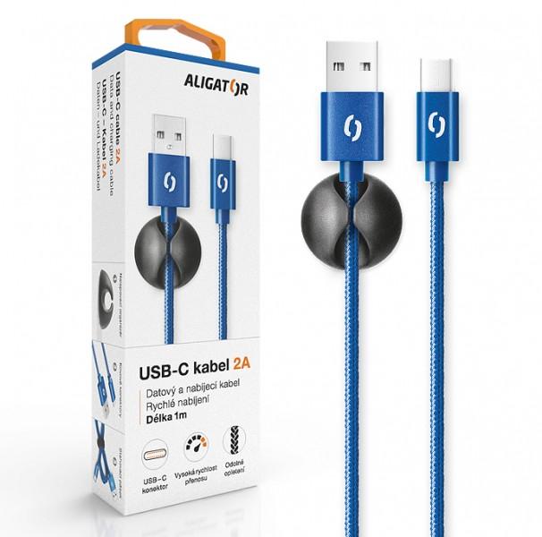Datový kabel ALIGATOR PREMIUM 2A, USB-C, modrá