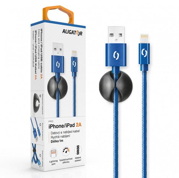 Datový kabel ALIGATOR PREMIUM 2A, Lightning, modrá