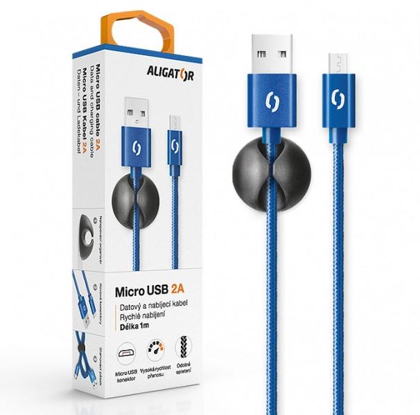 Datový kabel ALIGATOR PREMIUM 2A, Micro USB, modrá