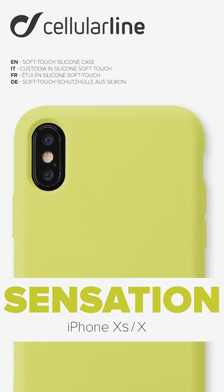 Silikonové pouzdro CellularLine SENSATION pro Apple iPhone X/XS, limetkový neon