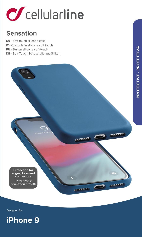 Silikonové pouzdro CellularLine SENSATION pro Apple iPhone XR, modrá