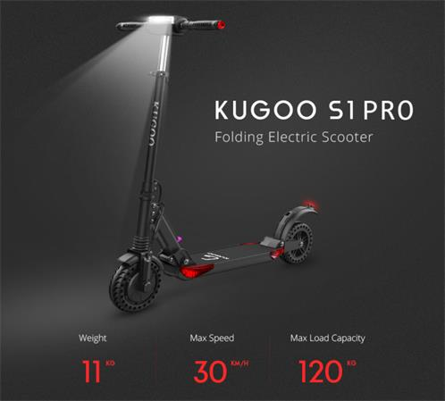 Kugoo S1 PRO elektro koloběžka, 3 režimy rychlosti, poloperforovaná kola, větší kapacita, dojezd až 30km, černá