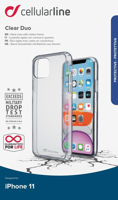Zadní kryt Cellularline Clear Duo pro Apple iPhone 11, čirý