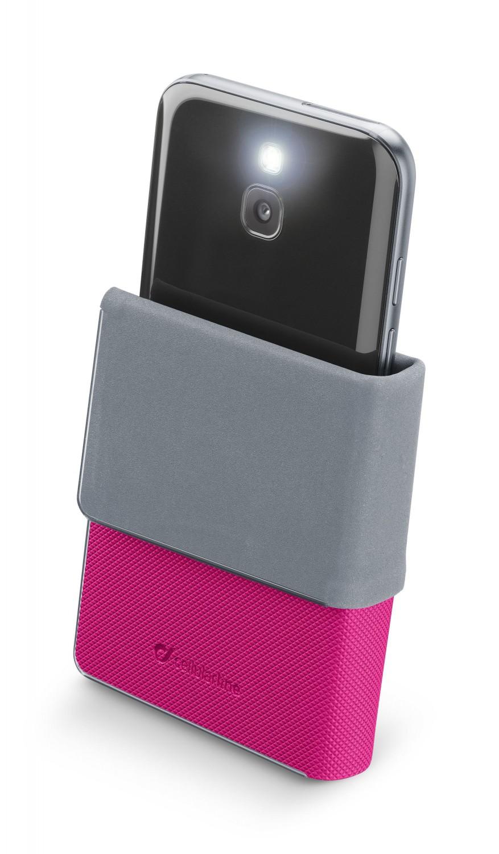 Univerzální pouzdro Cellularline Slide&Click XXXL s odklápěcí horní částí, PU kůže, růžové