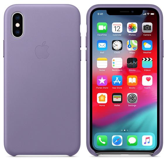 Kožené pouzdro Leather Case pro Apple iPhone XS, Lilac