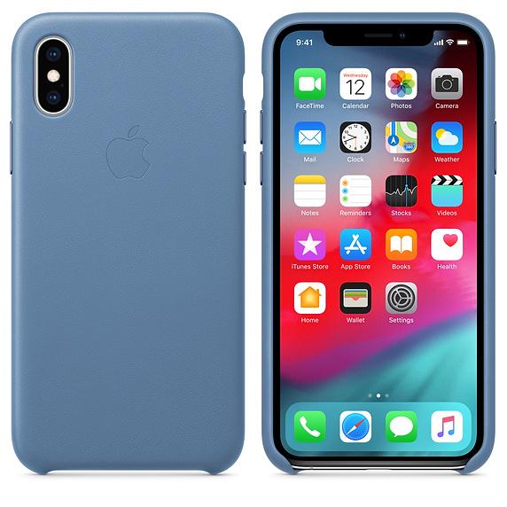 Kožené pouzdro Leather Case pro Apple iPhone XS, cornflower
