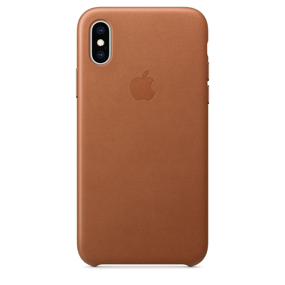 Kožené pouzdro Leather Case pro Apple iPhone XS, saddle brown