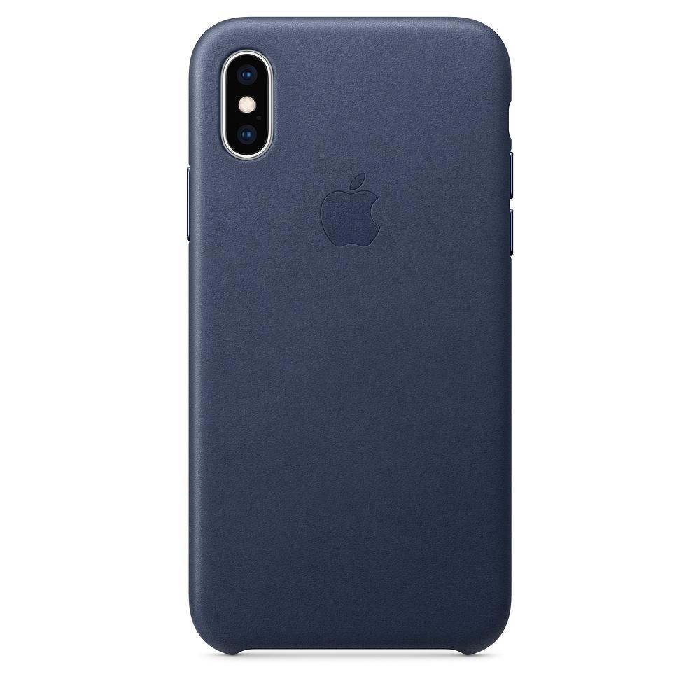 Kožené pouzdro Leather Case pro Apple iPhone XS, midnight blue