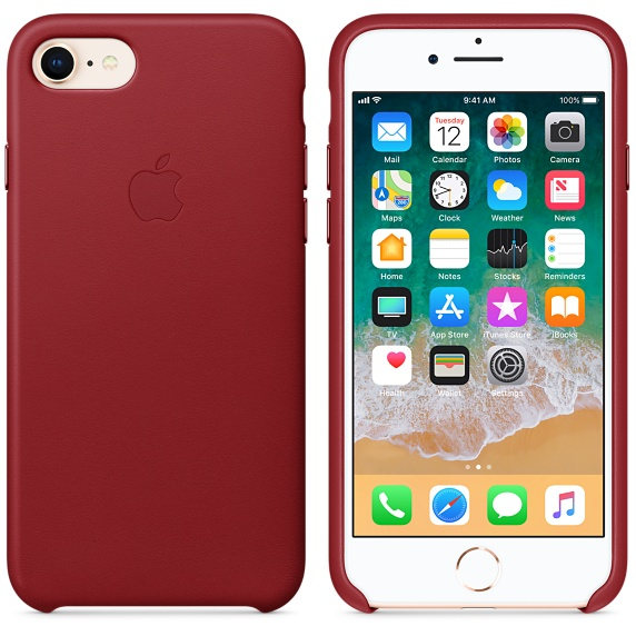 Kožené pouzdro Leather Case pro Apple iPhone 8/7, red