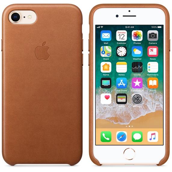 Kožené pouzdro Leather Case pro Apple iPhone 8/7, saddle brown
