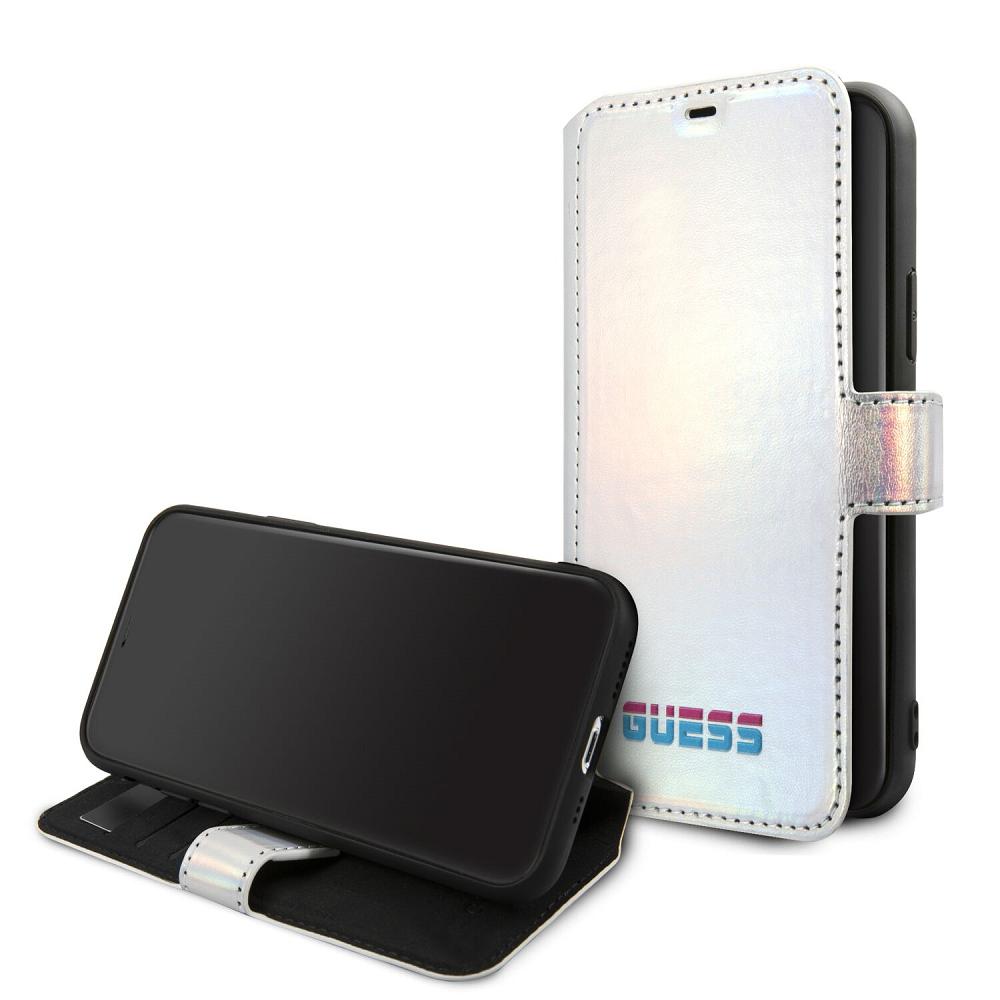 Guess Iridescent pouzdro flip GUFLBKN58BLD pro Apple iPhone 11 Pro silver