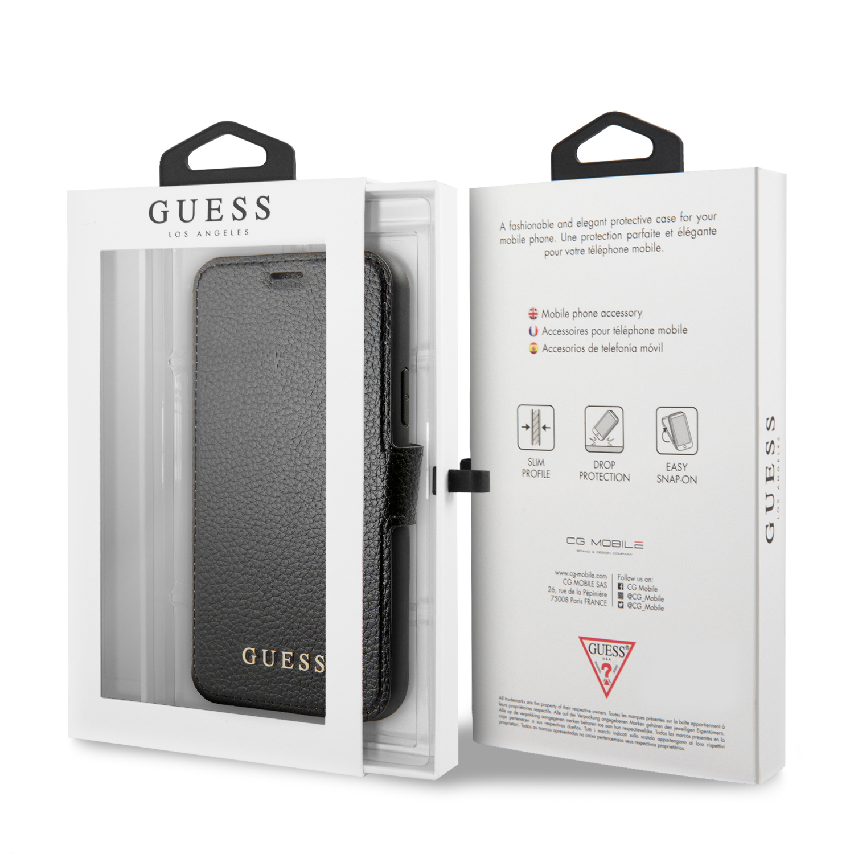 Guess Iridescent pouzdro flip GUFLBKSN58IGLBK pro Apple iPhone 11 Pro black