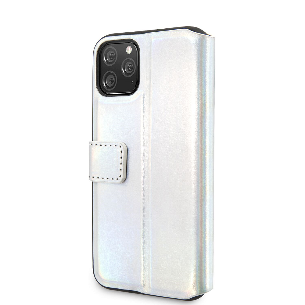 Guess Iridescent pouzdro flip GUFLBKN61BLD na Apple iPhone 11 silver