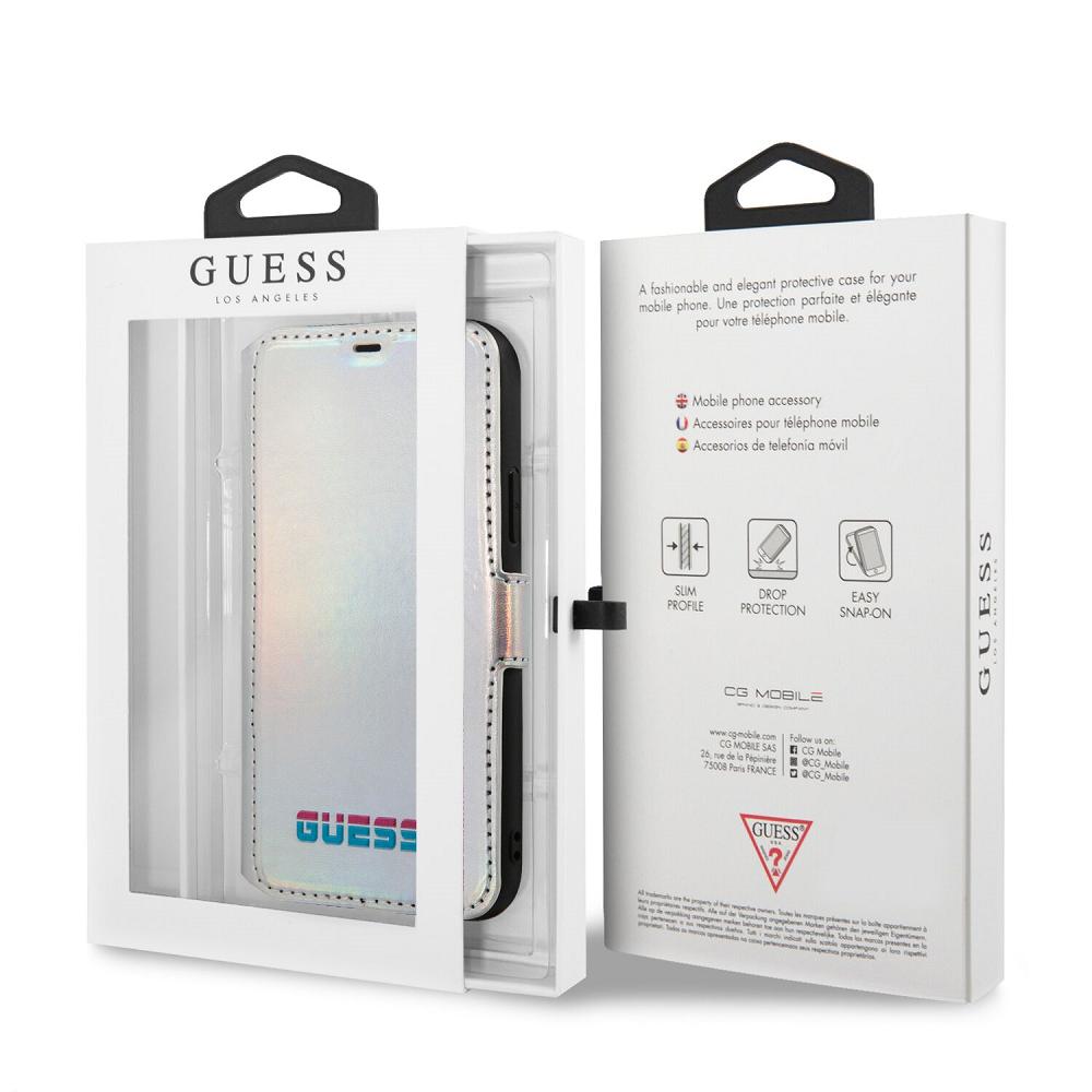 Guess Iridescent pouzdro flip GUFLBKN65BLD na Apple iPhone 11 Pro Max silver