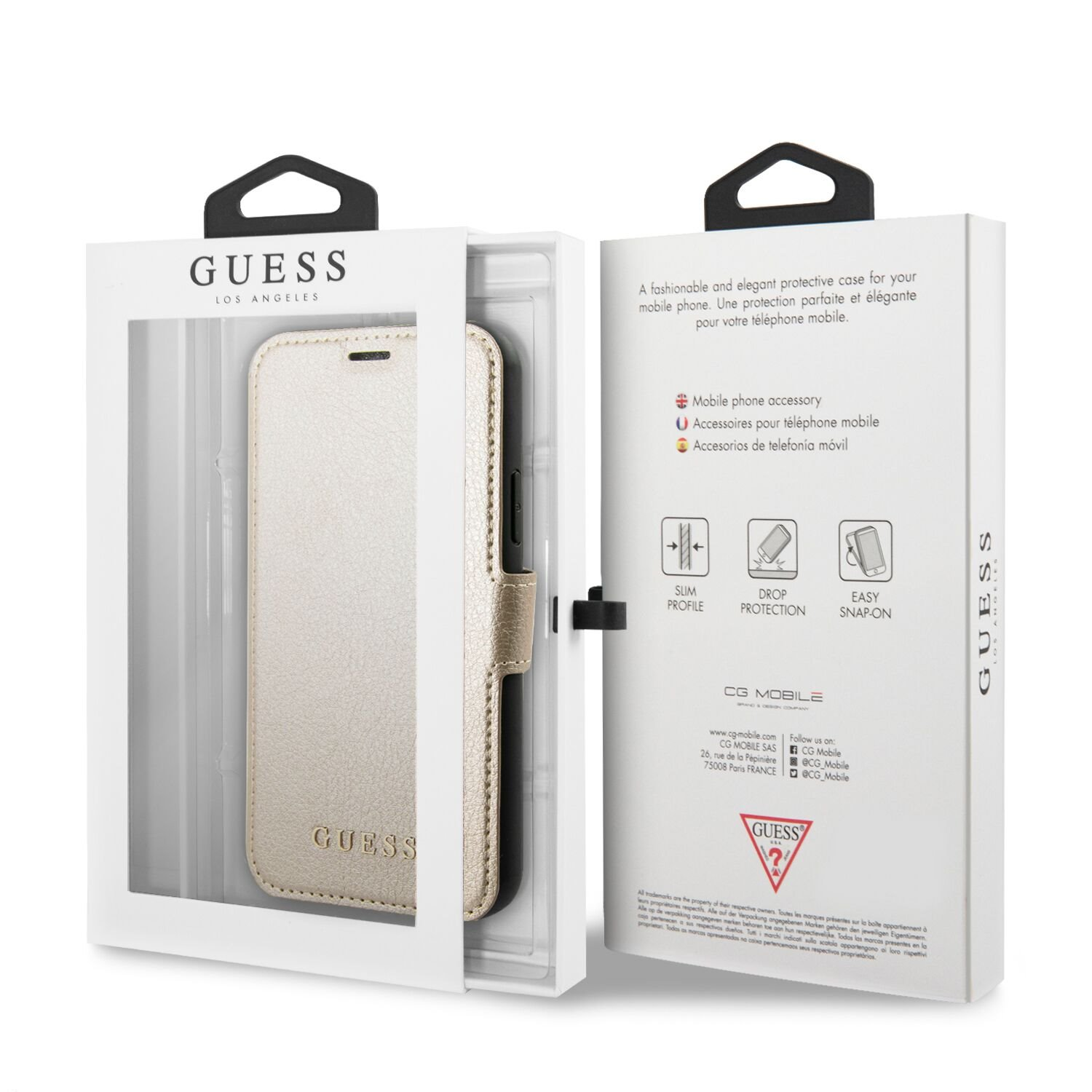 Guess Iridescent pouzdro flip GUFLBKSN65IGLGO na Apple iPhone 11 Pro Max gold