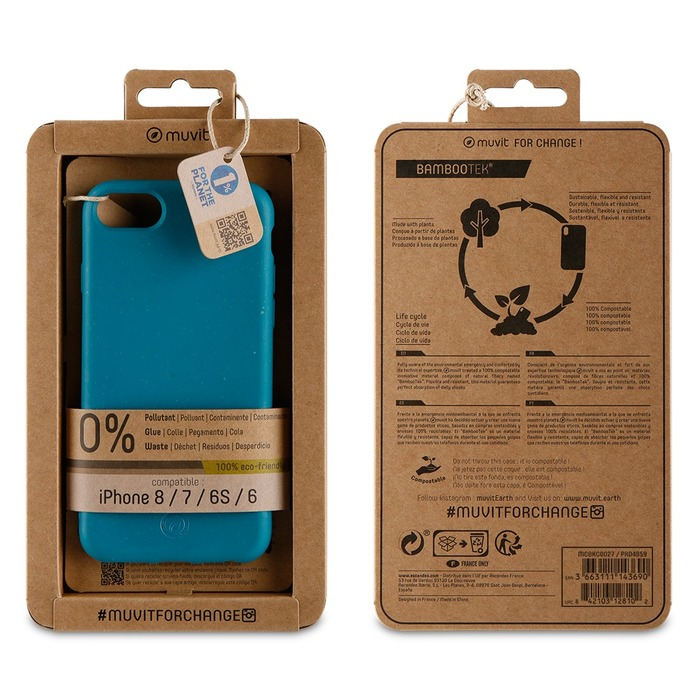 Zadní kryt Bambootek Muvit For Change ECO pro Apple iPhone 6/6s/7/8, Ocean