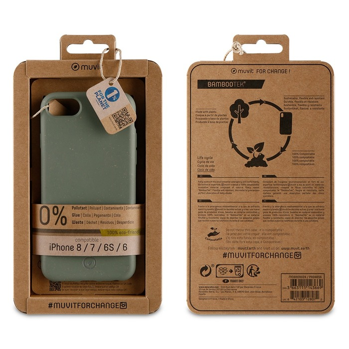 Zadní kryt Bambootek Muvit For Change ECO pro Apple iPhone 6/6s/7/8, Moss