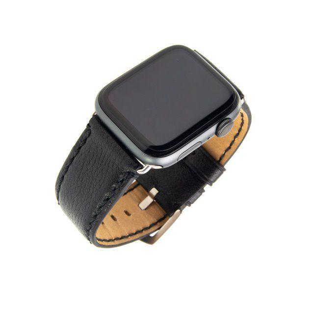 Kožený řemínek FIXED Berkeley pro Apple Watch 42 mm a 44 mm se stříbrnou sponou, černý