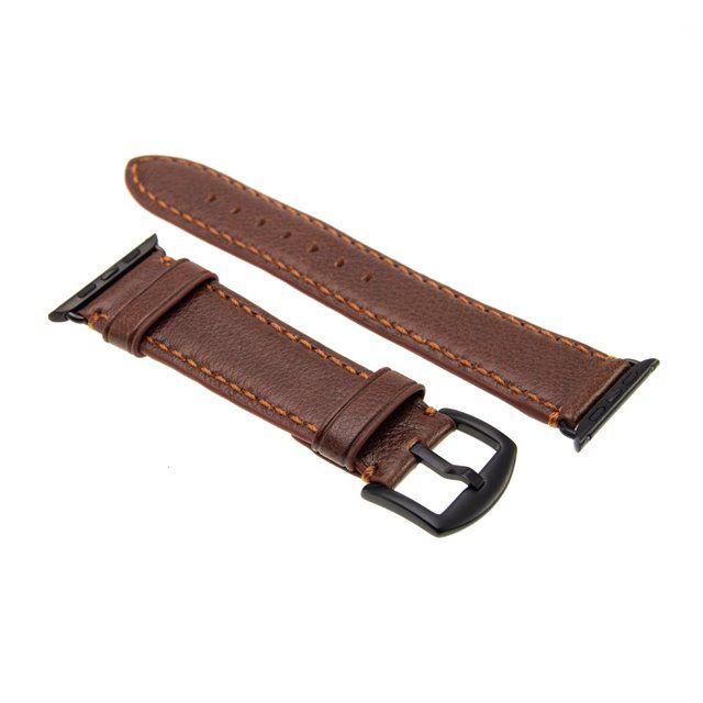 Kožený řemínek FIXED Berkeley pro Apple Watch 42 mm a 44 mm s černou sponou, hnědý
