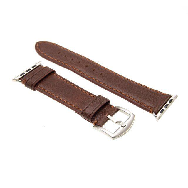 Kožený řemínek FIXED Berkeley pro Apple Watch 42 mm a 44 mm se stříbrnou sponou, hnědý
