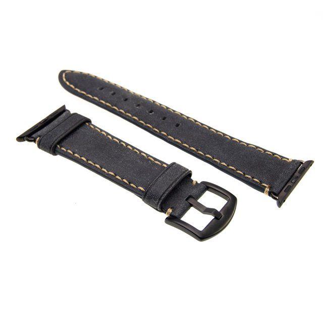 Kožený řemínek FIXED Berkeley pro Apple Watch 42 mm a 44 mm s černou sponou, uhlově černý