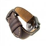 Kožený řemínek FIXED Berkeley pro Apple Watch 42 mm a 44 mm s černou sponou, velikost L, uhlově hnědý