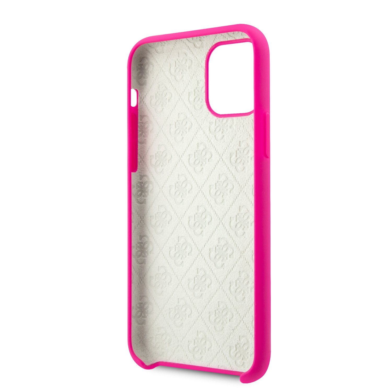 Guess 4G Silicone Tone Zadní kryt GUHCN61LS4GFU pro Apple iPhone 11 fuchsia