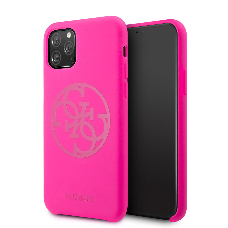 Guess 4G Silicone Tone Zadní kryt GUHCN58LS4GFU pro Apple iPhone 11 Pro fuchsia