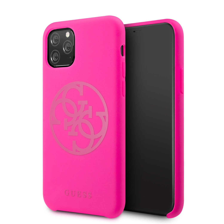 Guess 4G Silicone Tone Zadní kryt GUHCN65LS4GFU pro Apple iPhone 11 Pro Max fuchsia