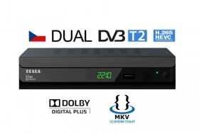 DVB-T/T2 přijímač TESLA Duplex T2 černá