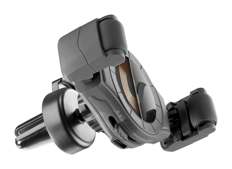 Univerzální držák do ventilace auta s funkcí bezdrátového nabíjení Cellularline Handy Roll, černý
