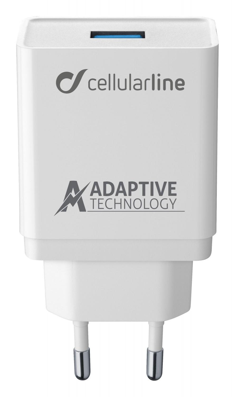 Set USB nabíječky a USB-C kabelu Cellularline, adaptivní nabíjení, 15W, bílý
