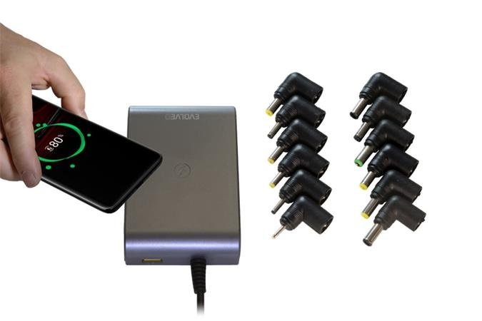 Univerzální napájecí zdroj pro notebooky Evolveo Chargee C90 s beztrátovým nabíjením, 90W