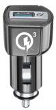 Nabíjecí set USB autonabíječky a USB-C kabelu Cellularline, Qualcomm® Quick Charge™ 3.0, 18W, černá