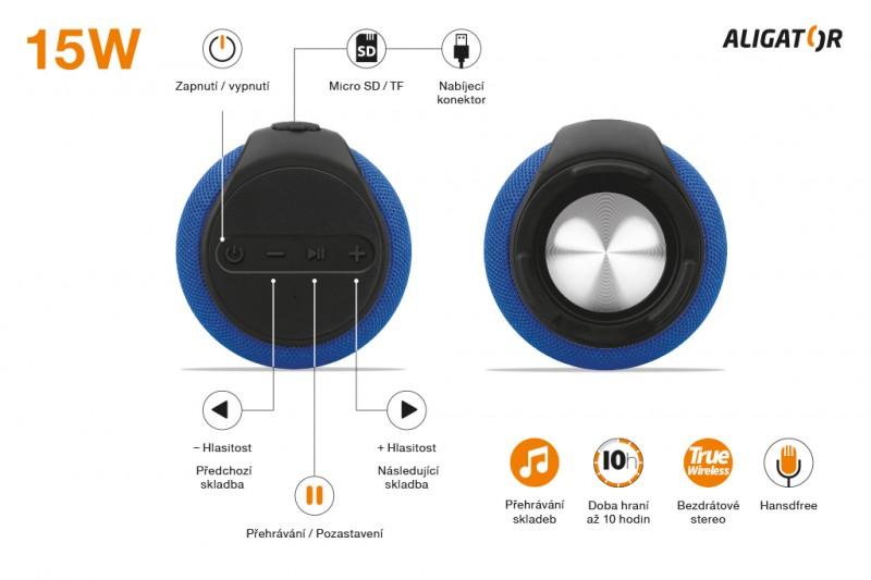 Bluetooth outdoor reproduktor ALIGATOR STEREO ABS3, modrá
