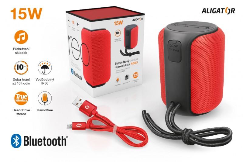 Bluetooth outdoor reproduktor ALIGATOR STEREO ABS3, červená