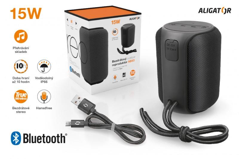 Bluetooth outdoor reproduktor ALIGATOR STEREO ABS3, černá