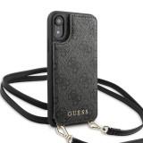 Guess 4G Crossbody Cardslot flipové pouzdro GUHCI61CB4GG pro Apple iPhone XR grey
