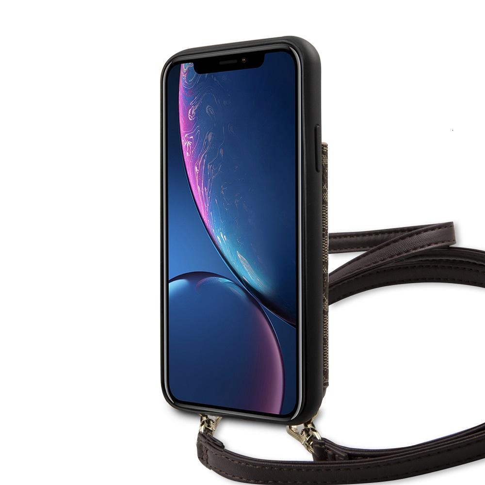 Guess 4G Crossbody Cardslot flipové pouzdro GUHCI61CB4GB pro Apple iPhone XR brown